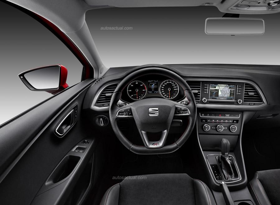 SEAT León Coupé 2014 interiores, consola, volante pantalla touch