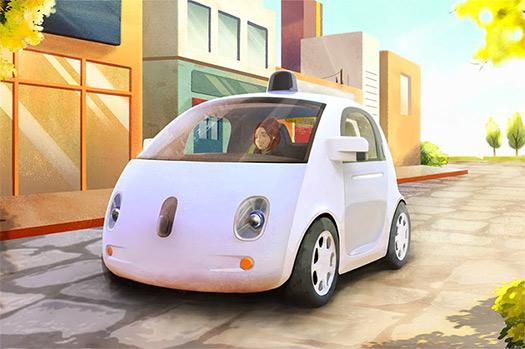 Google self-driving dibujo auto prototipo autónomo sin pedales