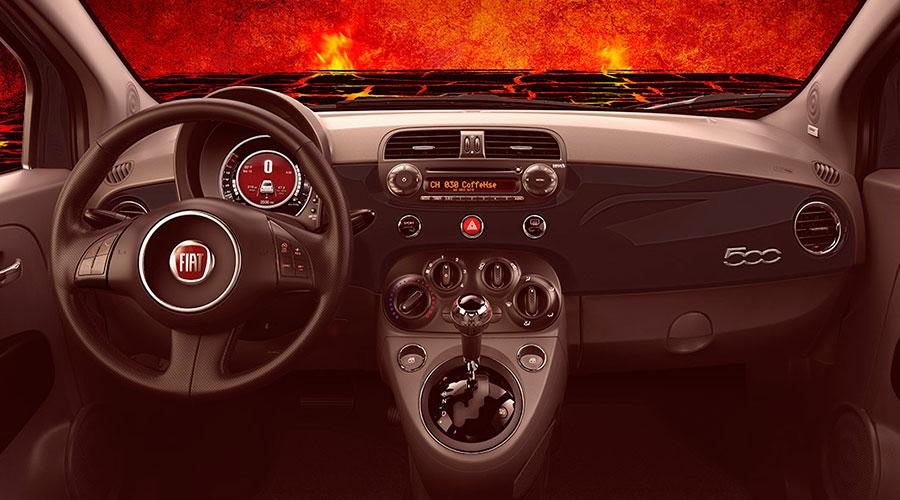 Fiat 500 Diavolo en México interiores Cluster y palanca