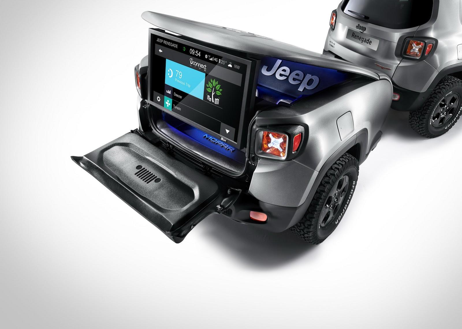 Jeep Renegade con remolque y pantalla