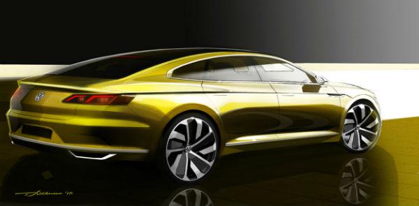 Volkswagen CC 2016, bocetos prototipo previo Ginebra 2015, vista-trasera