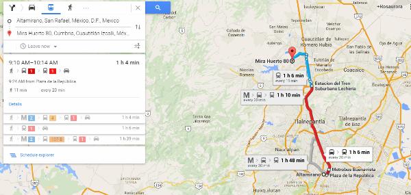 Google Maps ruta transporte colectivo