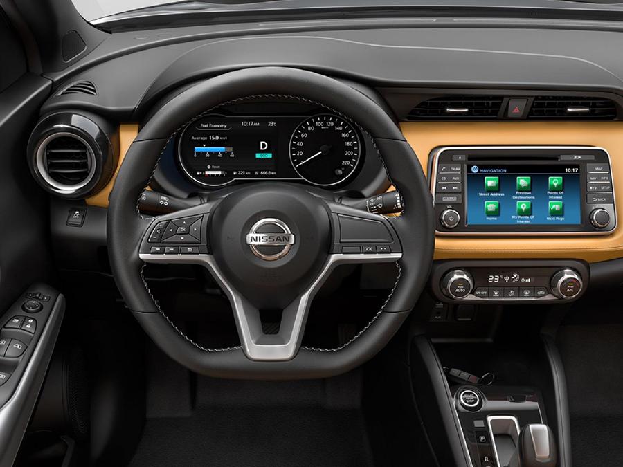 """Nissan Kicks 2017 en México interior pantalla touch de 7"""" y volante"""