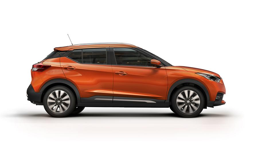Nissan Kicks 2017 en México color naranja perfil derecho