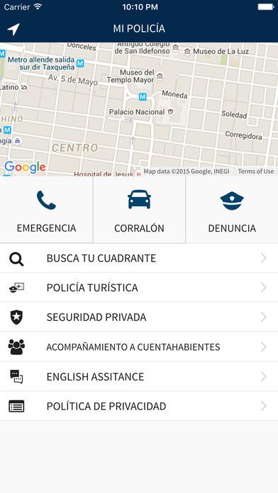 App Mi Policía en CDMX opciones