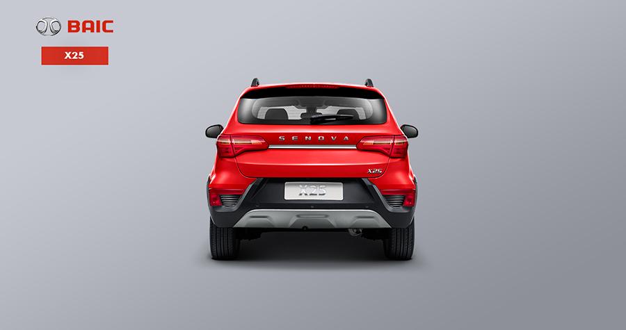 Baic X25 2017 en México color rojo posterior