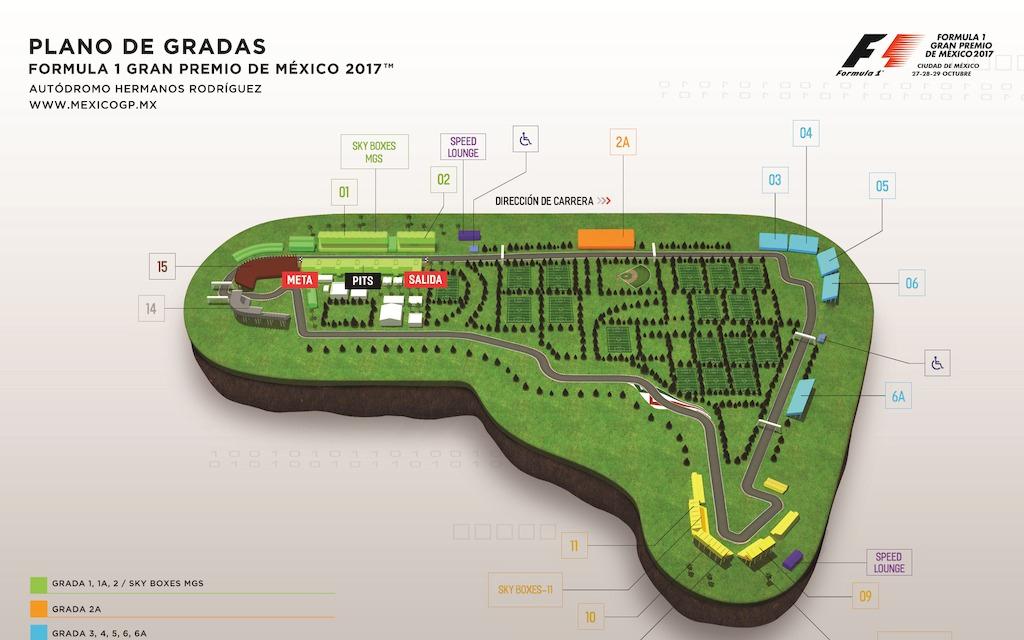 Fórmula 1 Gran Premio de México 2017 Mapa Plano de gradas 2017