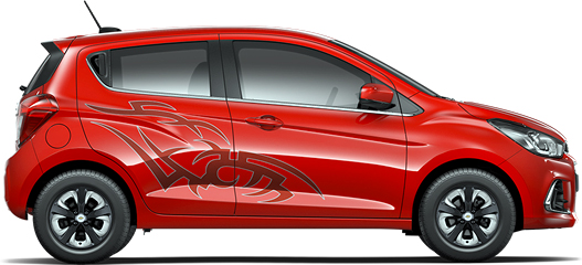 Chevrolet Spark Ink 2017 México, laterales con stickers Ink