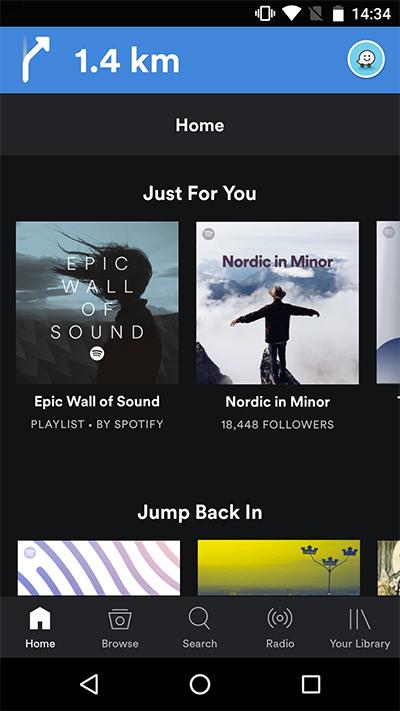 Spotify con Waze crear lista para navegación