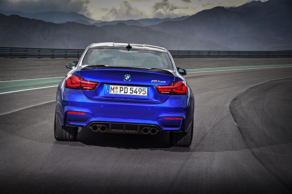 BMW M4 CS 2018 en México color azul parte posterior en pista