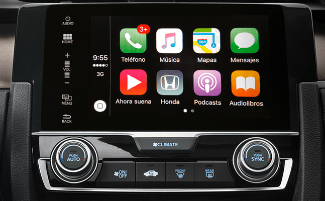 Honda Civic 2018 en México, interior con pantalla touch de 7 pulgadas con Apple CarPlay y Android Auto