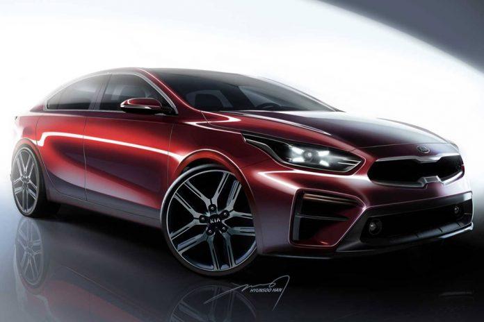 Kia Forte 2019 boceto oficial - exterior parte frontal y lateral