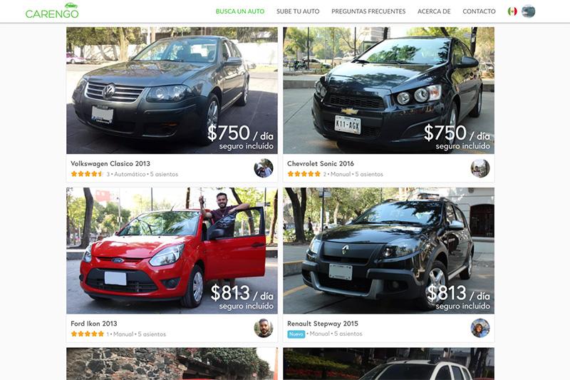 Carengo renta de autos particulares México elegir auto