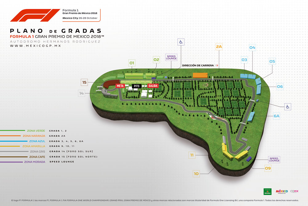 Plano de las Gradas de la Fórmula 1 Gran Premio de México 2018