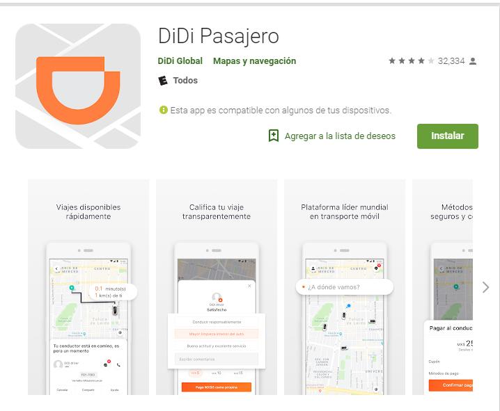 App Didi pasajero