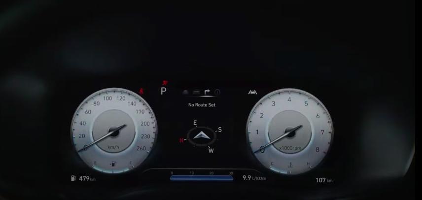 Hyundai Santa Fe 2022 para México - interior pantalla clúster de información