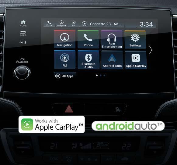 Honda Pilot 2022 México - pantalla touch de 10.2 pulgadas con Android Auto y Apple CarPlay