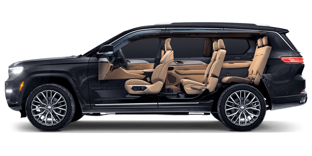 Jeep Grand Cherokee L 2021 en México - vista lateral de los asientos y tres filas