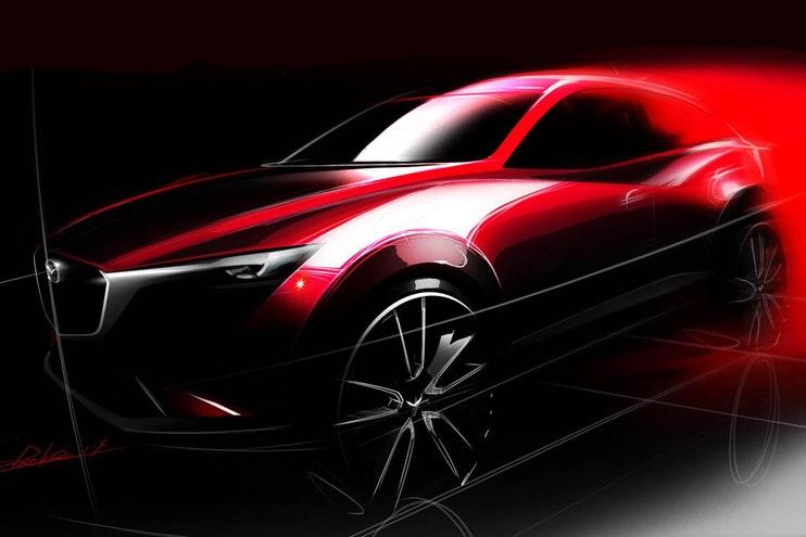 Mazda boceto sketch de nueva SUV CX-50 2022 parte lateral frontal
